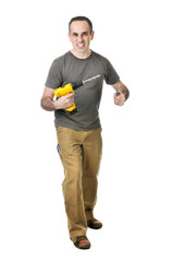 Handyman with a drill and screwdriver