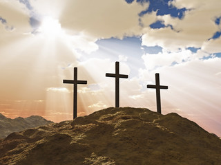 three cross on Calvary hill