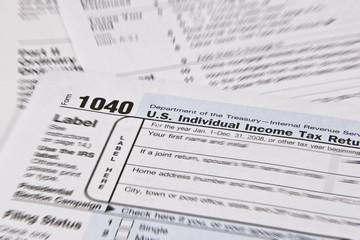 Income Tax Form with Selective Focus