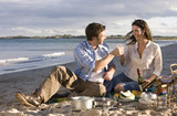 Couple toasting champagne on beach