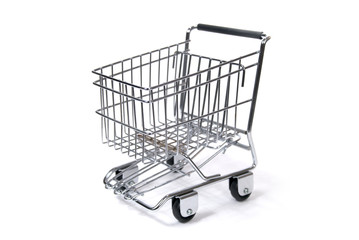 A Toy Sized Shopping Cart Against White Background