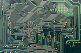 Electronic lines integrated on a circuit board. poster