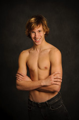 Teen Male Smiling and Shirtless