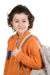 Student boy with orange clothes