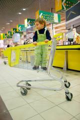 boy in supermarket