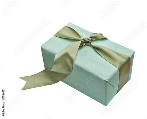 Gift box wrapped with wrapped a satin bow isolated on a white