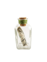 money savings concept. dollar in a bottle