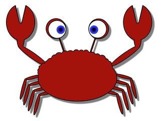 Cartoon Crab - Isolated On White