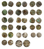 Old rusty medieval european coins poster