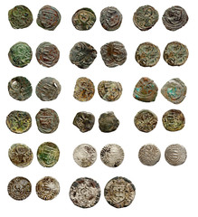 Old rusty medieval european coins