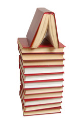 stack of the red books isolated on a white background