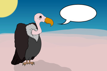 Vulture In The Desert With Blank Copyspace