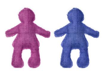 pareja de muñecos en colores