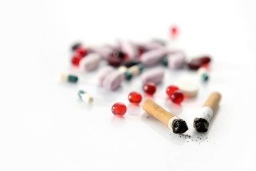 tobacco, unhealthy dangerous drug and pills
