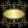 Gold frame from flowers and leaves on the black background