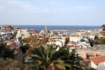 Vue du port et du phare de Hania - La Canée en Crète