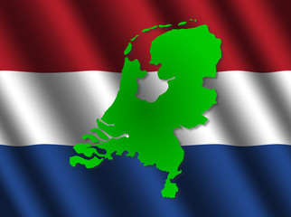 Netherlands map on rippled flag