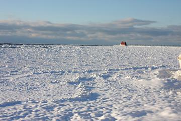 Ice covered Lake Michigan