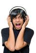 Boy with headset yelling