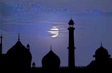 Delhi mosque moon