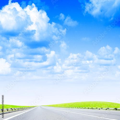 poster of car road under beautiful year sky