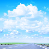 road under beautiful year sky poster