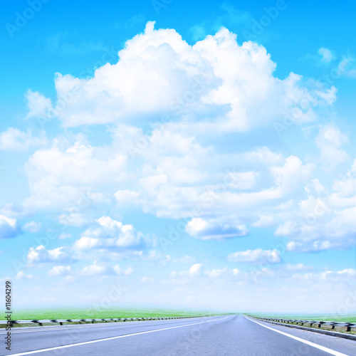 poster of road under beautiful year sky