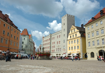 Haidplatz, town square in Regensburg,Germany