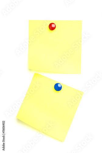 2 Post it notes with drawing pins.