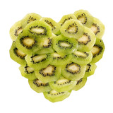 green heart composed of kiwi slices poster