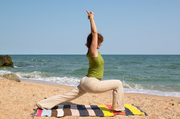 woman practice yoga asana