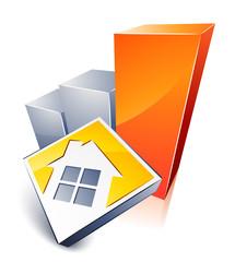 logo de maison et graphique