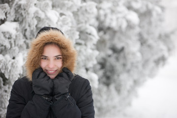 Portrait of a cute girl on a cold winter day