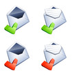 courrier et icônes validation