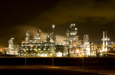 Refinery at night