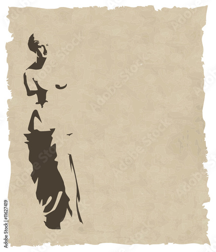 vector venus silhouette on old paper