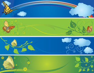 set of spring and summer banners with butterflies