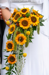 Wedding bouquet of Sunflowers