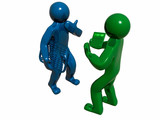 3D accountants, blue and green poster
