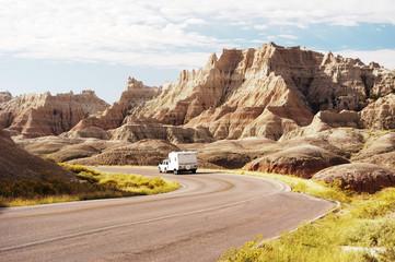 RV in the Badlands