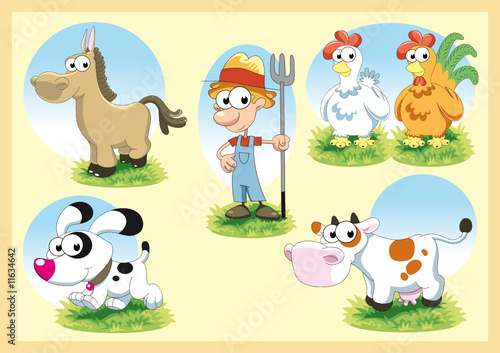 Cartoon Farm Family