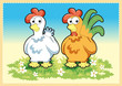 Cartoon Rooster and Hen