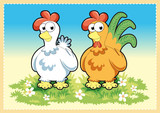 Fototapety Cartoon Rooster and Hen