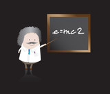 A character illustration of a professor teaching equations poster