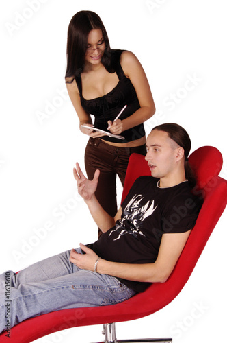 Young beautiful psychologist talking to patient isolated