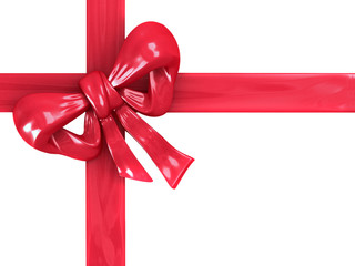Gift box with red ribbons