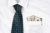 Business suit with bills on pocket poster