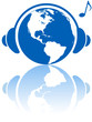 Earth music world headphones on western hemisphere planet