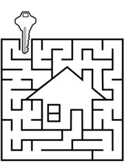 Home Finder maze puzzle with house key