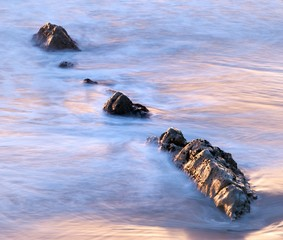 Beach rocks at Sunset